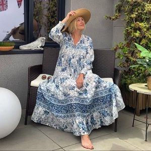 🌞Zara Midi Dress Blue White Bloggers Favor…